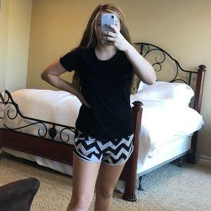 Black and white chevron Varsity shorts size small